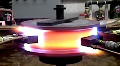 轮式起重机车轮的火焰淬火